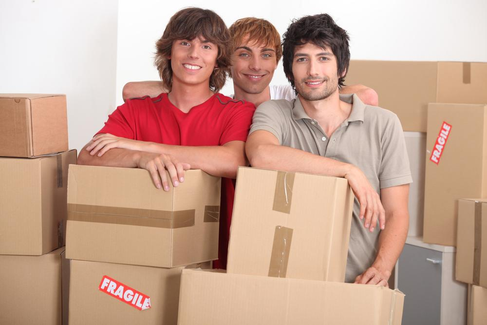 College students with moving boxes