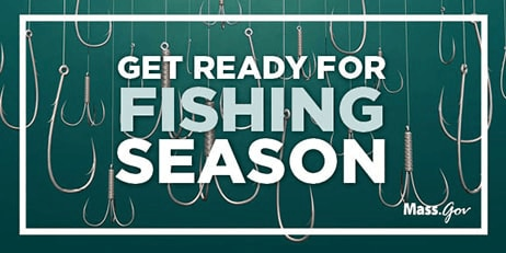 "Text ""Get ready for fishing season"" appears with fishing hooks in the background."