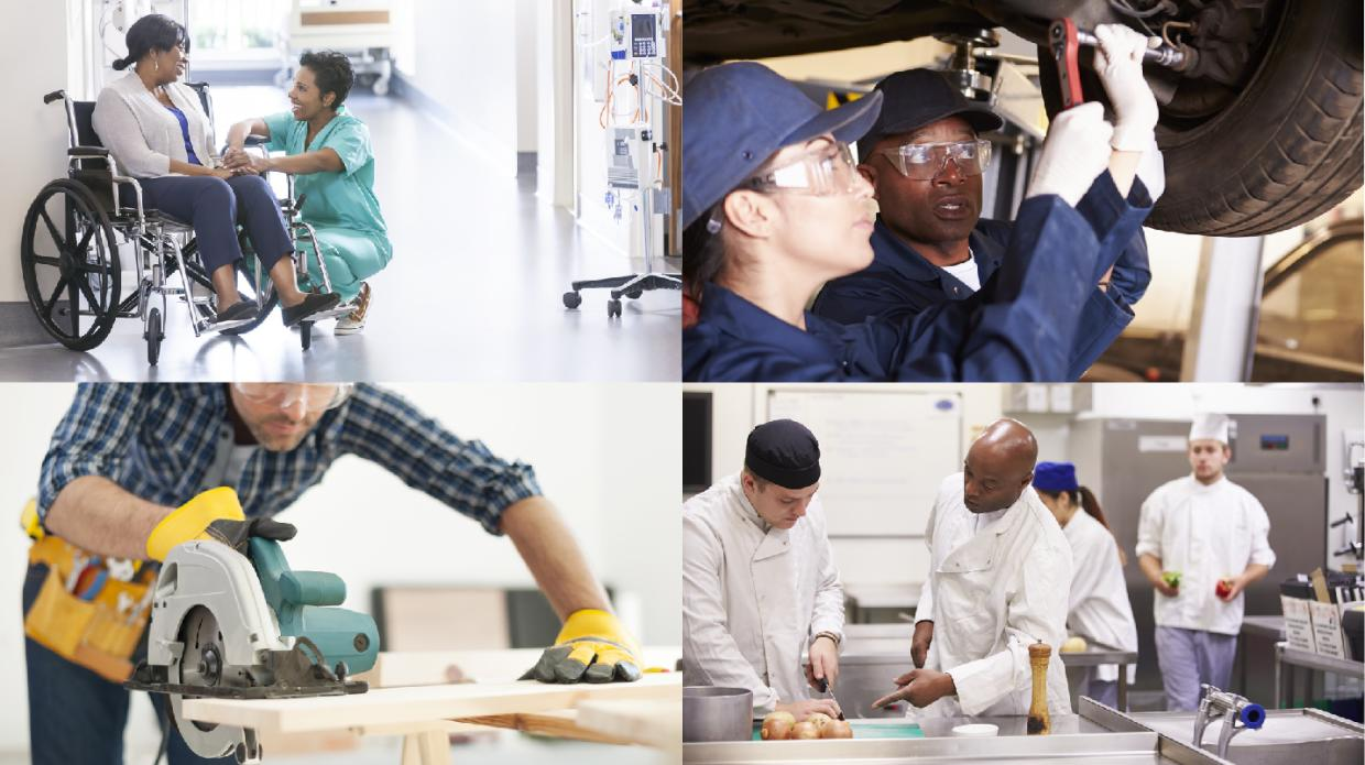 people doing apprenticeship jobs