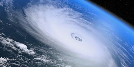 Satellite image of a hurricane over an ocean.