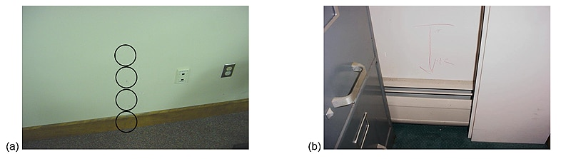 Figure 2 (a) Sampling locations in GW marked by circles and (b) wet GW indicated by arrow on wall