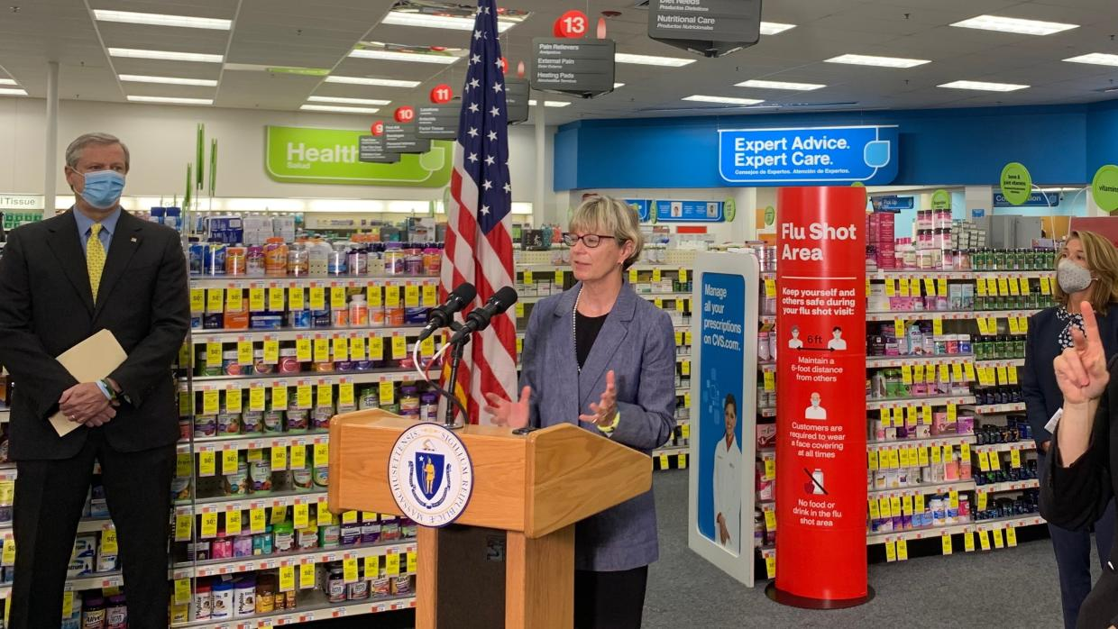 Today Governor Baker, Lt. Governor Polito, and Health and Human Services Secretary Marylou Sudders visited a CVS Pharmacy in Roslindale to receive flu shots and highlight the importance of getting vaccinated this year.