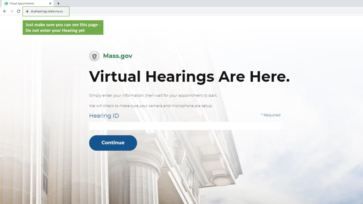 virtual hearing test step 1
