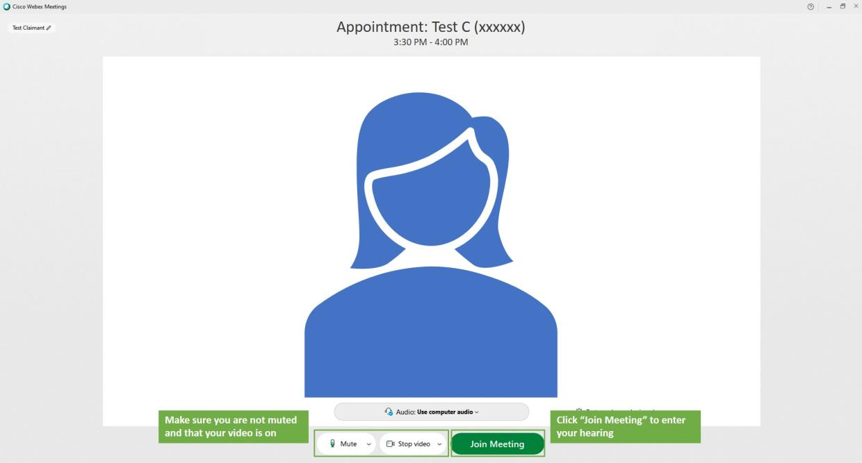 virtual hearing claimant step 6