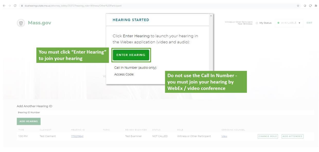 virtual hearing witness step 5