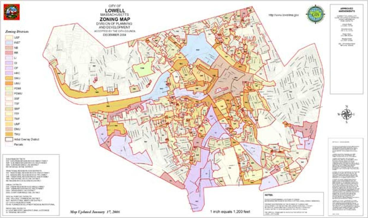 Lowell's Transect-Based Neighborhood Zoning Map