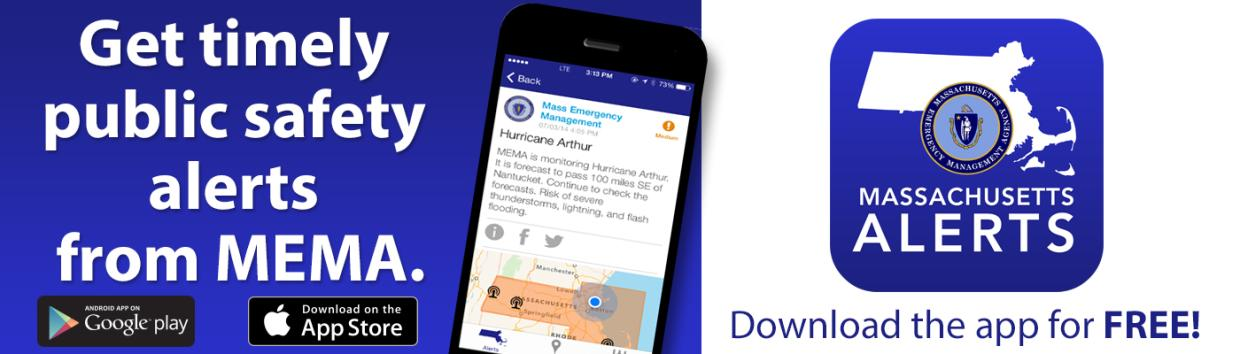 Get timely public safety alerts from MEMA. Download the app for free. Image shows app logo.