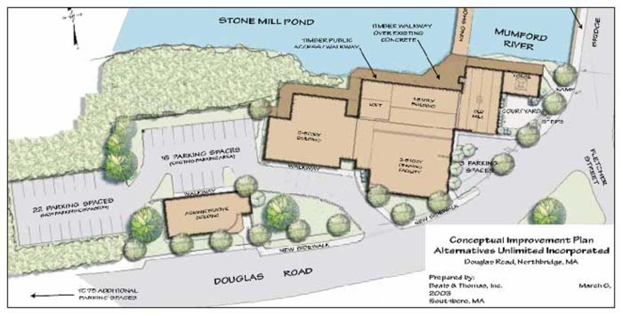 Whitin Mill Redevelopment Plan, Northbridge, MA. Source: Alternatives Unlimited