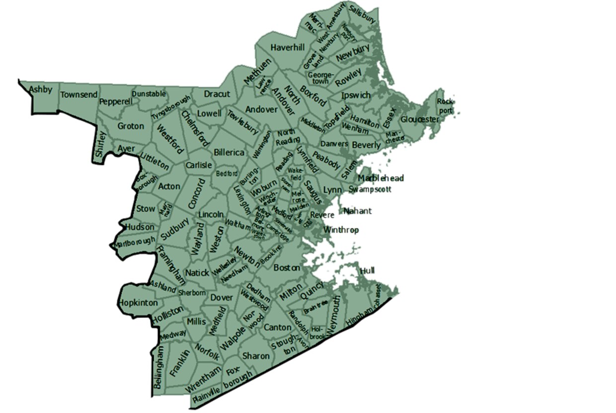 map of MassWildlife northeast district