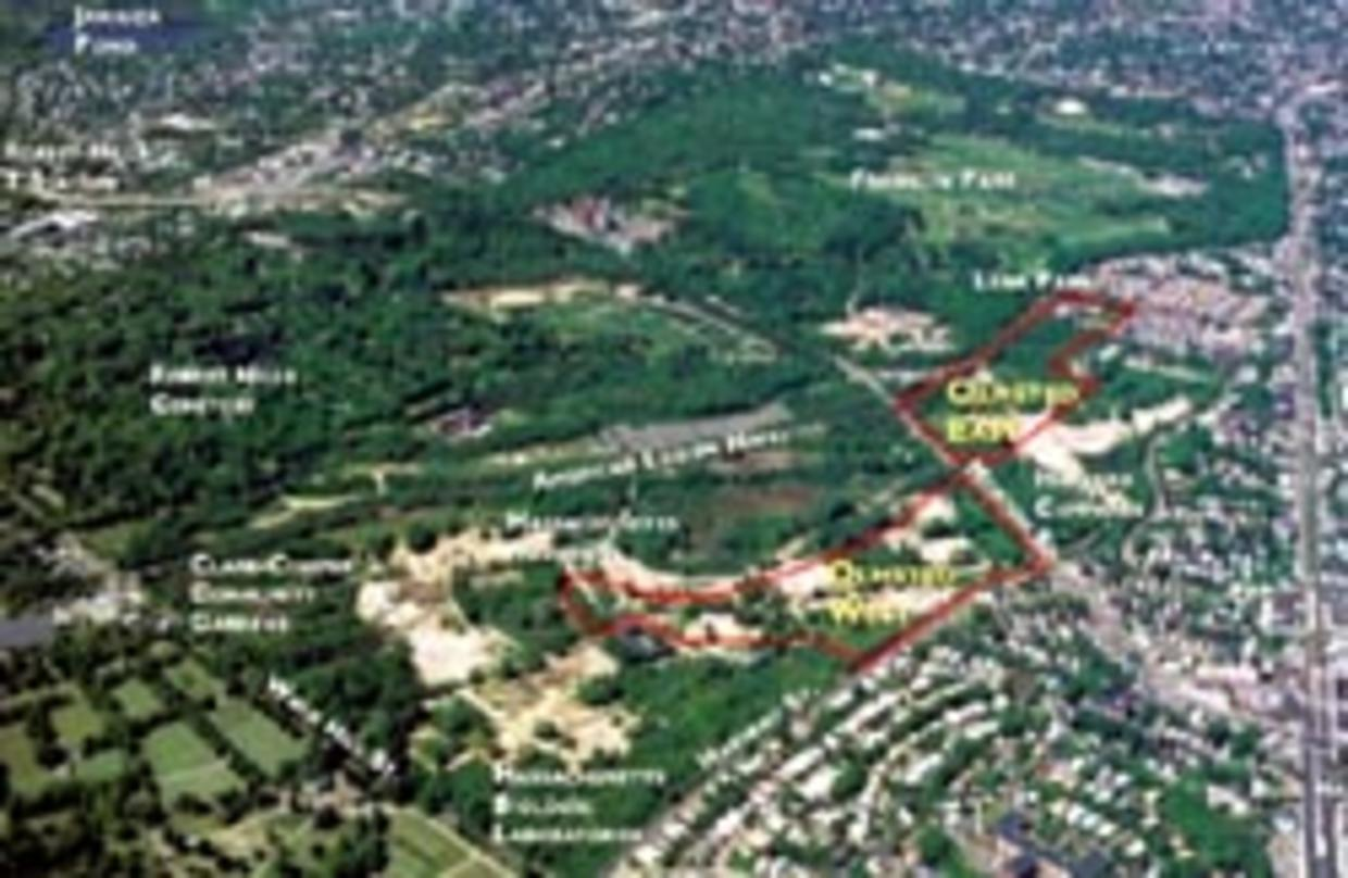 Olmsted Green (outlined in red) is located adjacent to Franklin Park and Forest Hills Cemetaryand is southwest of downtown Boston,