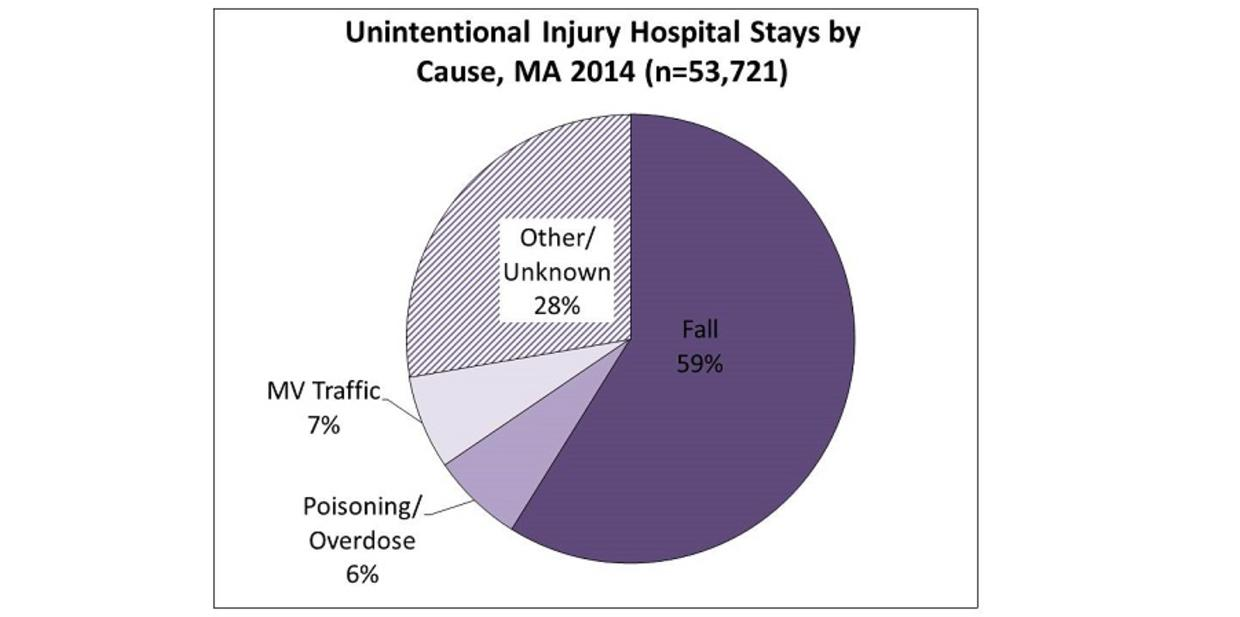 Unintentional Injury Hospital Stays by Cause, MA 2014 (n=53,721). Fall 59%, Other/Unknown 28%, MV Traffic 7%, Poisoning/Overdose 6%