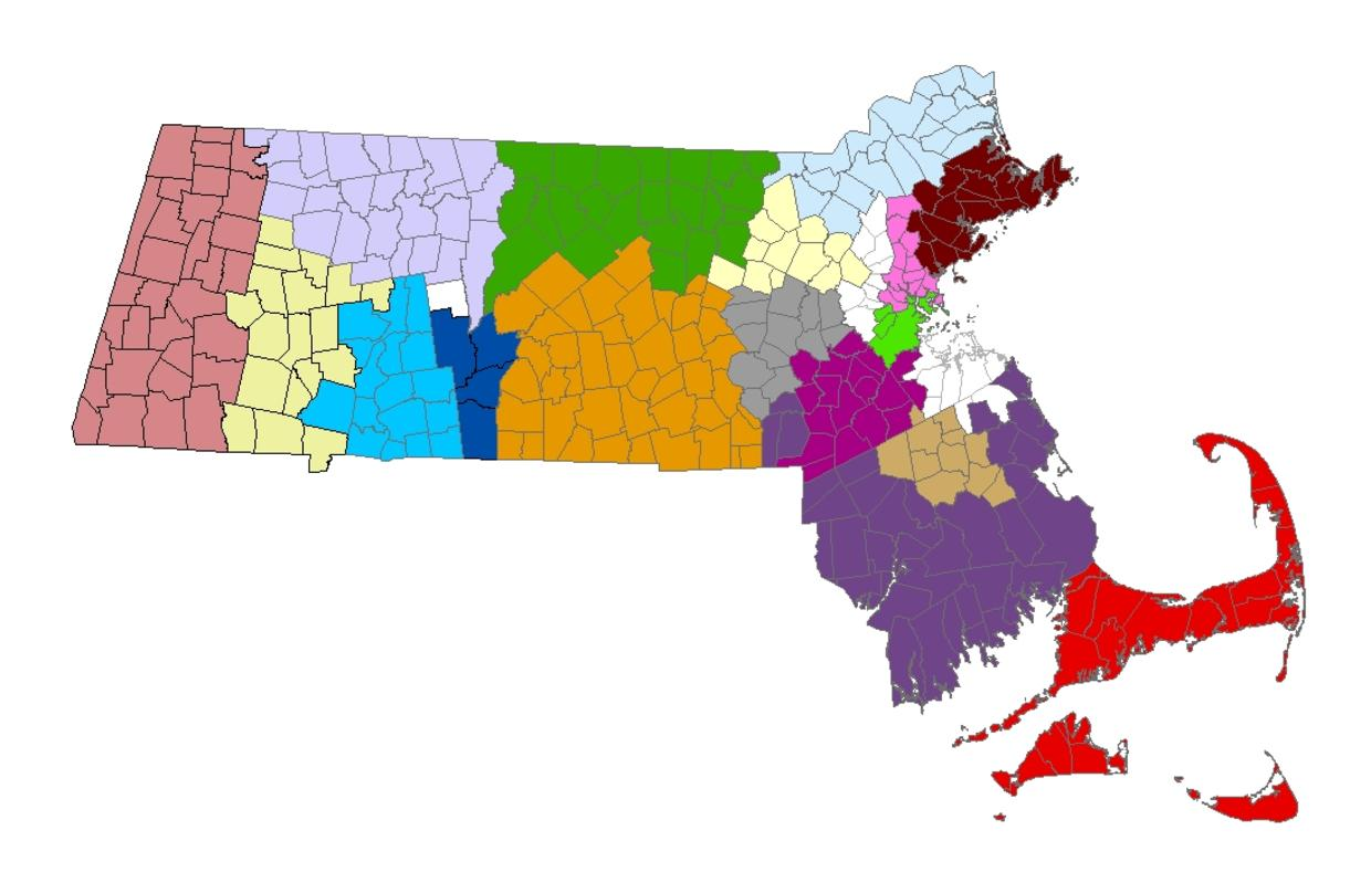Regional Coordinating Councils cover most regions of Massachusetts