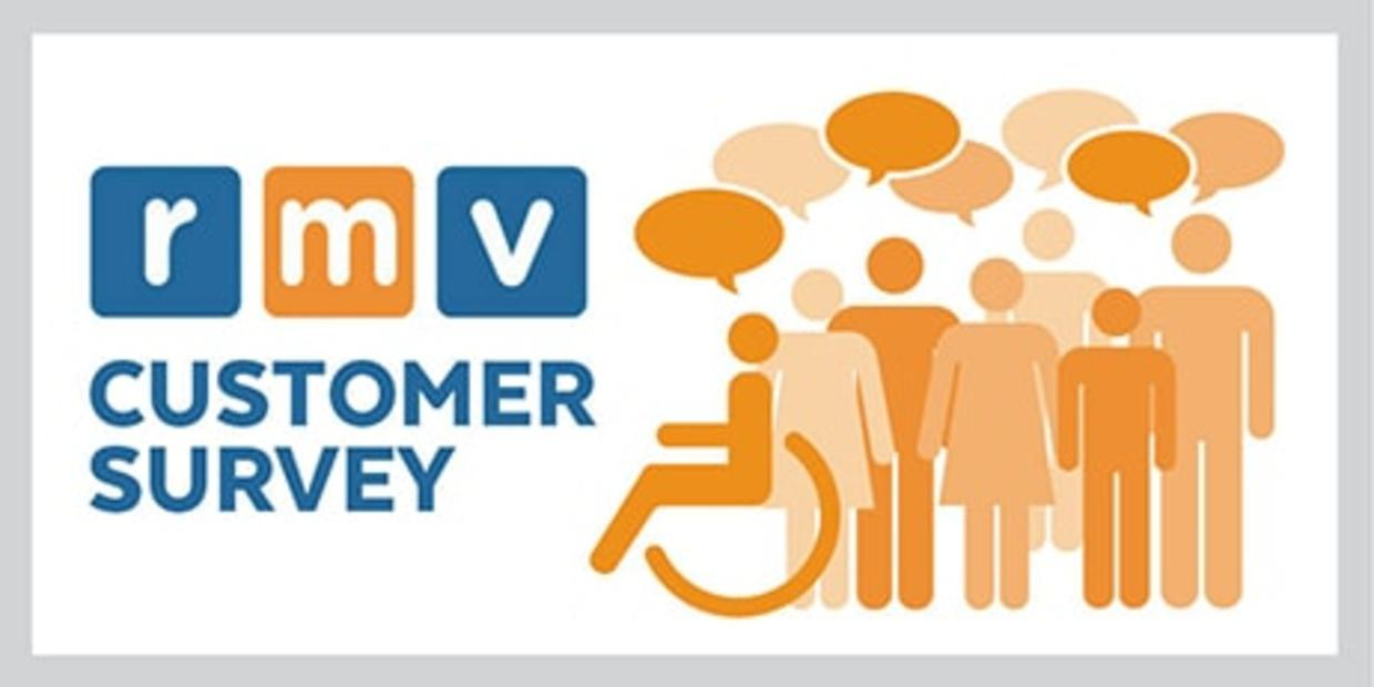 RMV Customer Survey text with illustration of people