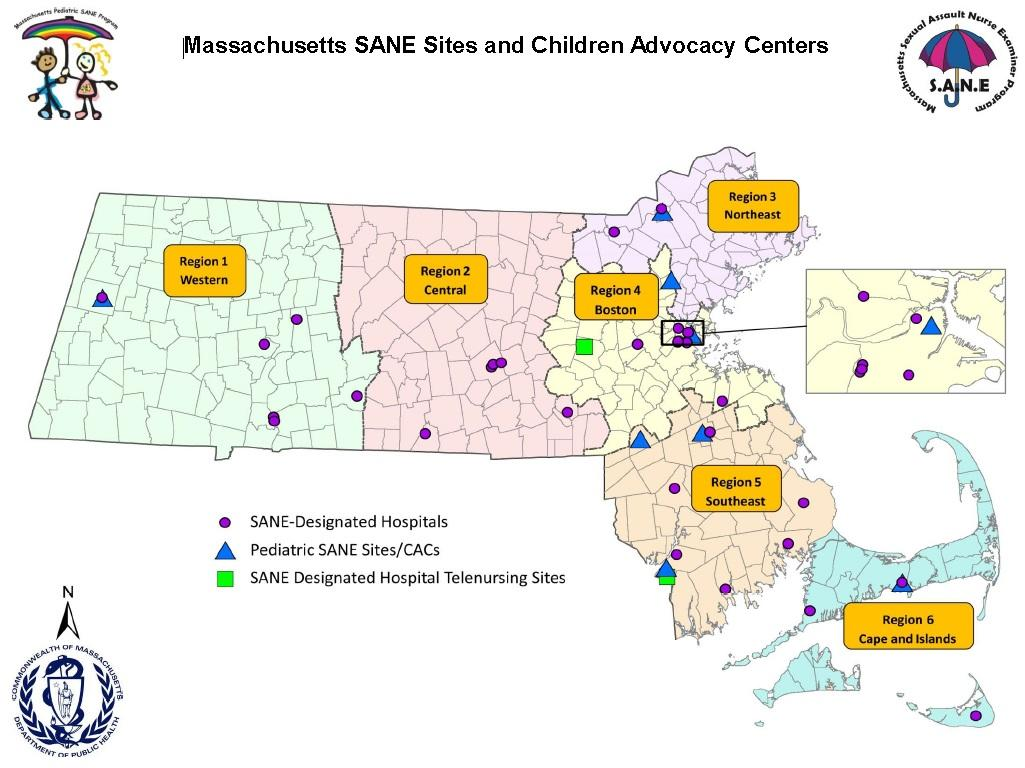 Map of MA SANE Site and Children Advocacy Centers. Map of Massachusetts is divided into 6 regioins: 1. Western, 2. Central, 3. Northeast, 4. Boston, 5. Southeast, and 6. Cape and the Islands