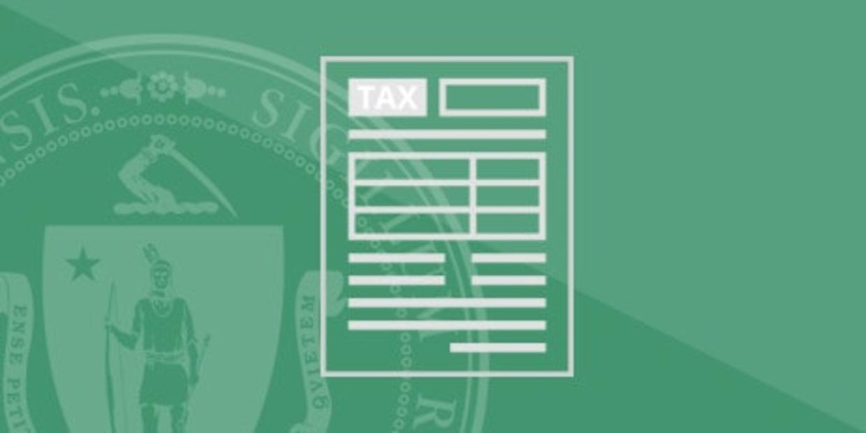 Illustration of a tax form and the Massachusetts State Seal