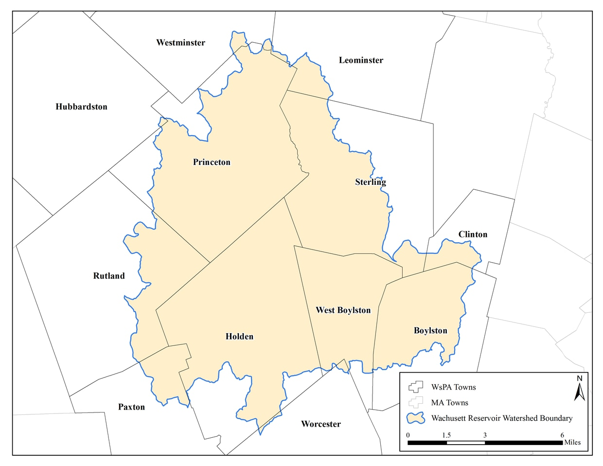 Towns affected by the Watershed Protection Act in the Wachusett Reservoir Watershed