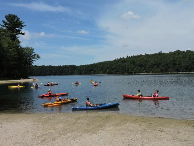 A photo of 10 colorful kayaks spread out on the water at Walden Pond. Some kayaks are tandem boats with two paddlers in them. One of the kayaks has pontoons.