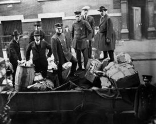 November 1919 photo of Boston police with seized radical literature