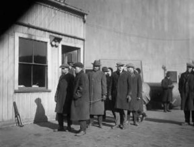 Massachusetts prisoners seized during government raids awaiting transport to Deer Island on January 4, 1920
