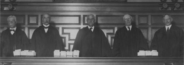Five of the seven justices of the Supreme Judicial Court in 1925.