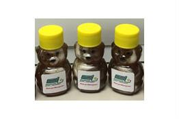 three bear-shaped honey bottles
