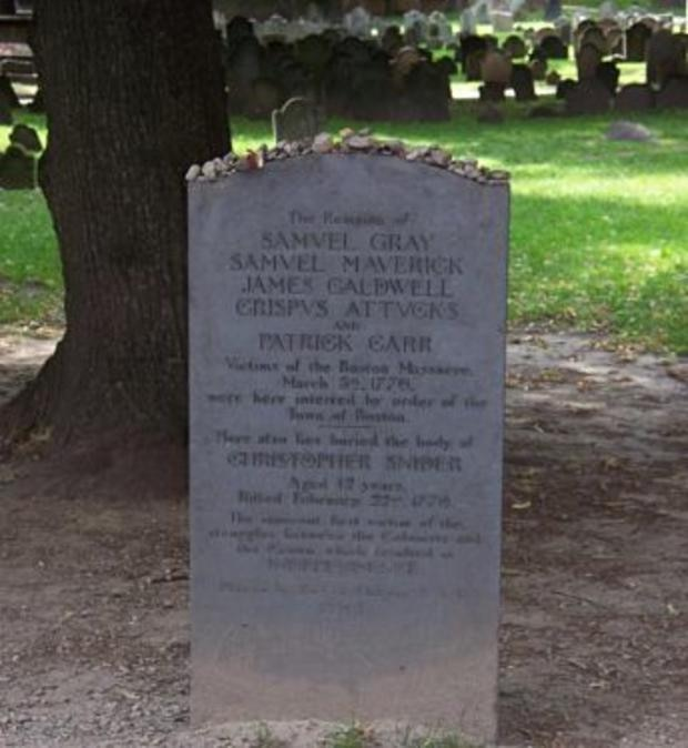 Memorial to Boston Massacre victims in Granary Burying Ground