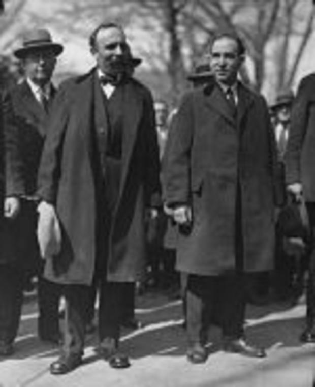 Sacco and Vanzetti outside the courthouse on April 9, 1927