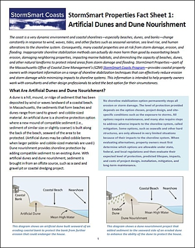 StormSmart Properties Fact Sheet 1: Artificial Dunes