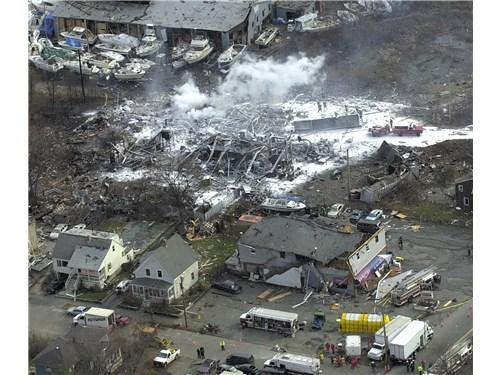 This photo features the aftermath of the CAI / Arnel chemical plant explosion in Danvers, MA, 2006. Source: U.S. Chemical Safety Board.