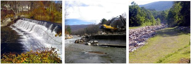 Three image so before, during and after dam removal