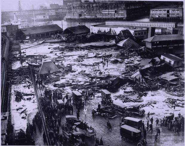 Boston Public Library photo of 1919 Molasses Flood