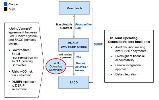 schematic depicting how the Joint Operating Committee fits within the BMCHP, BMCHS and BACO ecosystem- colored