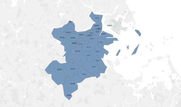 Map of Boston and Brookline, showing each zip code of covered area in blue
