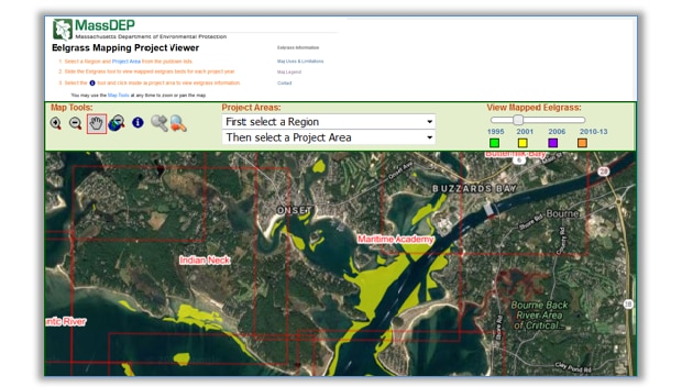 image of DEP eelgrass map viewer