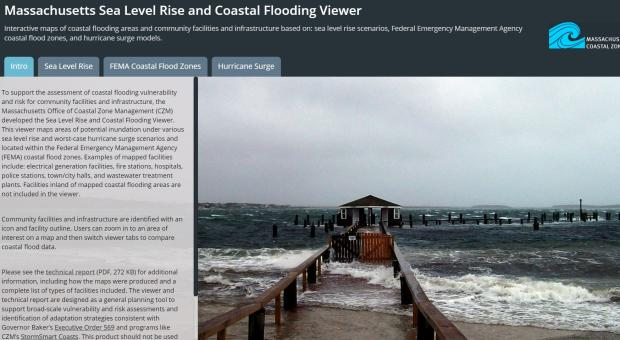 image of CZM's sea level rise viewer