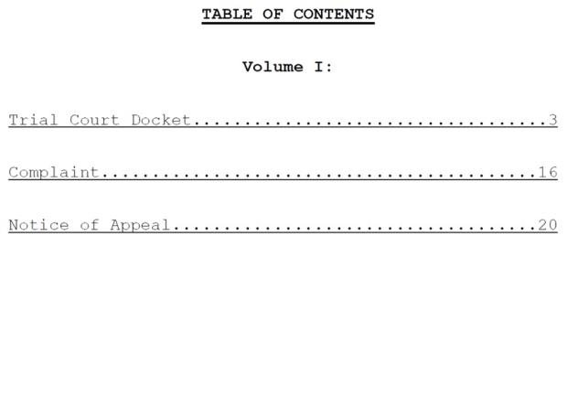 Table of Contents with Internal Links