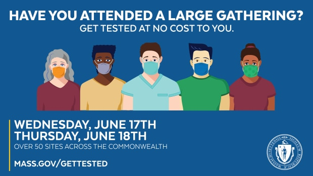 Have you attended a large gathering? Get tested at no cost to you. Wednesday, June 17th & Thursday, June 18th. Over 50 sites across the Commonwealth.