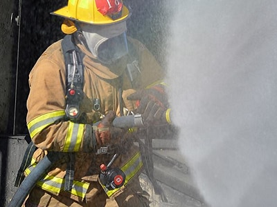 firefighter in fire fighting