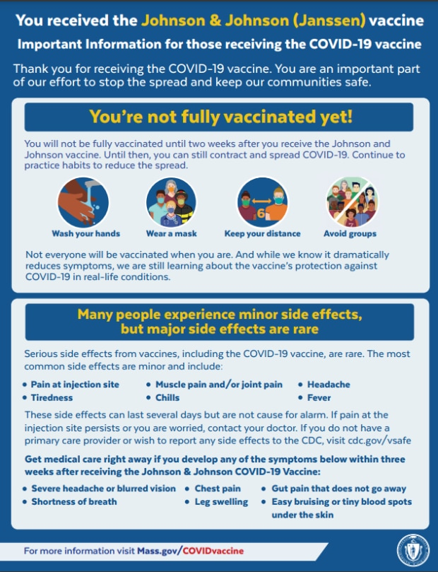 Post Johnson & Johnson (Janssen) vaccine info flier