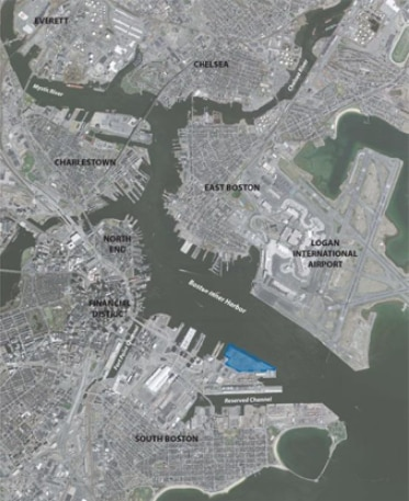 aerial view of massport maritime property