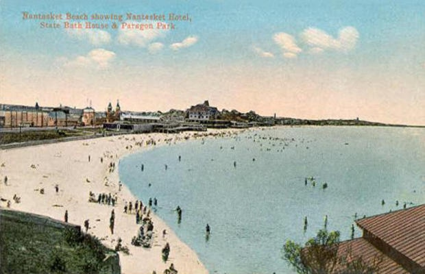 Nantasket Beach in Hull was once the home of Paragon Park; postcard circa 1910. (Photo courtesy of Wikimedia Commons.)