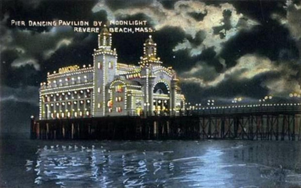 Pier Dancing Pavilion, Revere Beach; from a c. 1910 postcard. (Photo courtesy of Wikimedia Commons.)