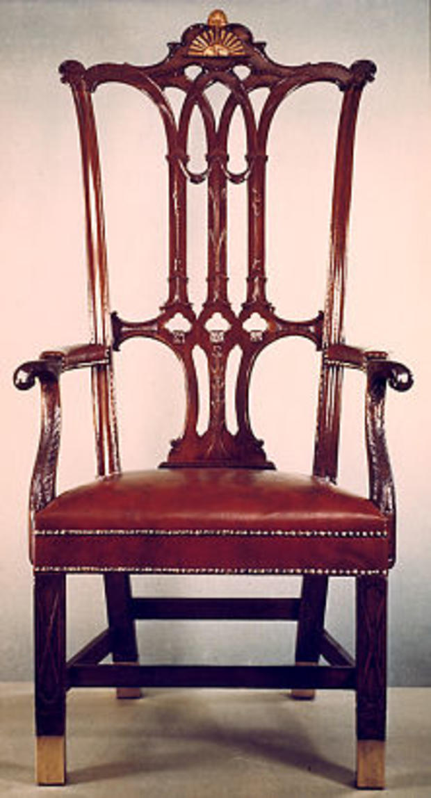 """Rising Sun"" Chair, used by George Washington when he presided over the Constitutional Convention"