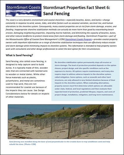 StormSmart Properties Fact Sheet 6: Sand Fencing