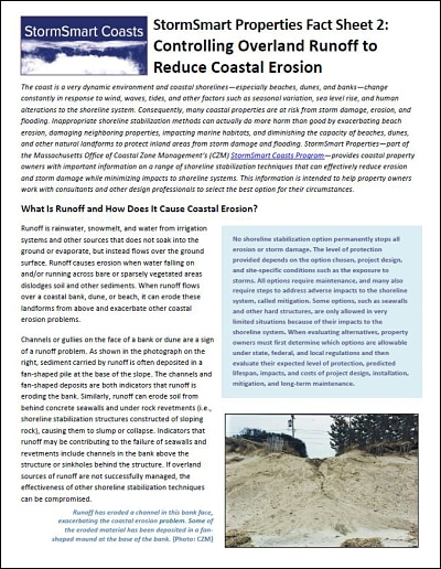 StormSmart Properties Fact Sheet 2: Controlling Overland Runoff to Reduce Coastal Erosion