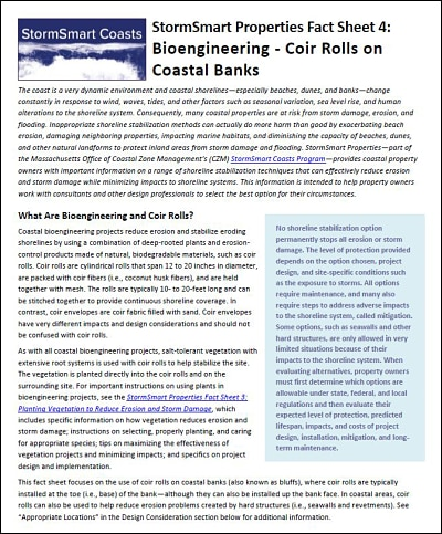 StormSmart Properties Fact Sheet 4: Bioengineering - Coir Rolls on Coastal Banks