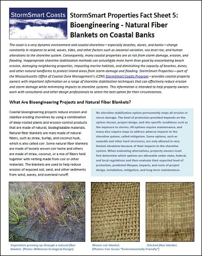 StormSmart Properties Fact Sheet 5: Bioengineering - Natural Fiber Blankets on Coastal Banks