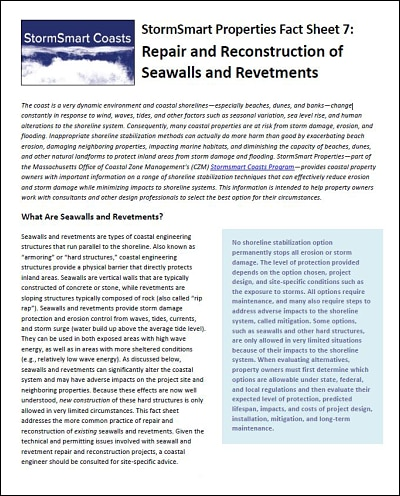 StormSmart Properties Fact Sheet 7: Repair and Reconstruction of Seawalls and Revetments