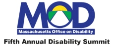 """MOD Blue Logo-sunrise inside of the O- Massachusetts Office on Disability spelled out below in white text with the words """"fifth annual disability summit"""" in black text underneath"""