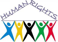 """The logo for the DDS Office of Human Rights. Five figures holding a triangle with the words """"human rights""""."""